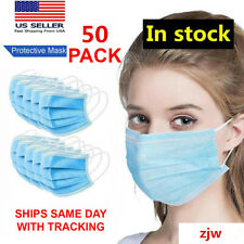 50 PCS Disposable Face Mask Shield 3-Ply Medical Surgical Dental Mouth Cover