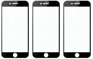 3-Pack Full Coverage Tempered Glass Screen Protector For iPhone 6 7 8 Plus X