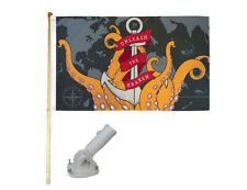 New listing 5' Wooden Flag Pole Kit W/ Nylon White Bracket 3x5 Unleash The Kraken Poly Flag
