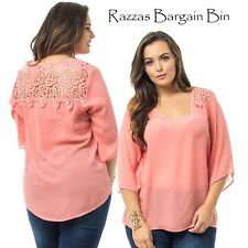 New Ladies Peach Chiffon Top With Lace Back Plus Size 18/3XL (9882)MQY