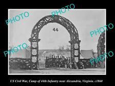 US CIVIL WAR HISTORIC PHOTO OF ALEXANDRIA VIRGINIA NEW YORK INFANTRY CAMP 1860 1