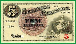 SWEDEN 5 KRONOR 1949 D PICK # 33af , UNC
