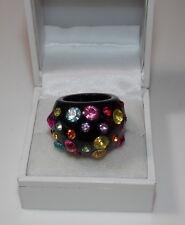 Chunky Black Plastic Dome Fashion 6.5 Ring Multicolor Rhinestone Polka Dot 8d 68