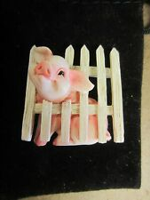Charming Tails Pin~Pig In Picket Fence Pin