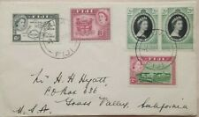 FIJI 1954 SURFACE MAIL COVER TO UNITED STATES WITH 5 STAMPS @ 1/9 RATE