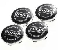 Schwarz 4 x 60mm Volvo Chrome Alufelge Nabenkappen Nabendeckel Satz