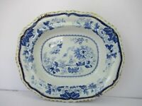 "Hicks & Meigh Ironstone  Platter China Dinner-Service Blue Printed Royal Arms ""F"