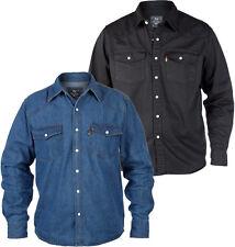 Mens Duke Black blue Denim Shirt Long Sleeve Front Pockets Stud Button Fastening