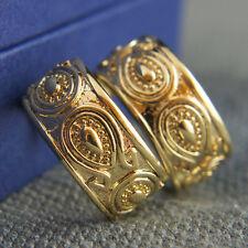 18k Yellow Gold GF Filigree Antique Style Huggie Men Women Unisex Earrings