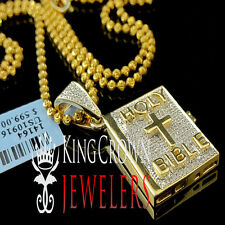 Genuine Diamond Mini Holy Bible Cross Pendant Charm Chain 10K Yellow Gold Finish