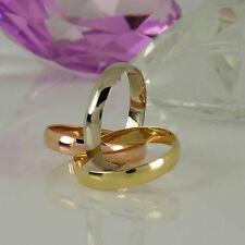 Echte Edelmetall-Ringe ohne Steine im Dreierring-Stil aus mehrfarbigem Gold für Damen