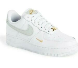 New Nike Air Force 1 Low White Silver Gold Women's Size 6-11 Sneakers CZ0270-106