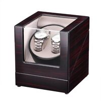 Deluxe Double Dual Automatic Rotation Watch Winder Wood Storage Display Case Box