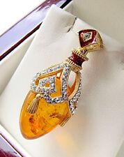 GORGEOUS STERLING SILVER 925 GENUINE AMBER and 24K GOLD RUSSIAN ENAMELED PENDANT