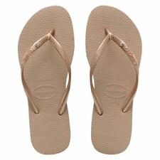 Havaianas Slim Crystal Glamour Women's Flip Flops Variety of Colors All Sizes Rose Gold 37-38 Brazil