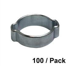 100/PK 11-13 mm Zinc Plated Double Ear Steel Automotive/Hand Tool Hose Clamp