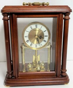 "VTG Seiko QXG332BLH Rotating Pendulum 10"" Wood Carriage Gold-Toned Mantel Clock"
