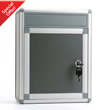 Wall Mount Aluminum Safe Drop Box Secure Cash Mail Lock Protect Keys Office Home