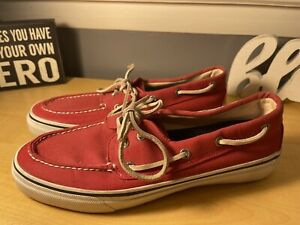 Sperry Top Sider Canvas Red Men's Shoes Size 10.5