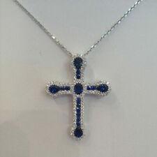 14k White Gold Finish 2.75 Ct Blue Sapphire & Diamond Cross Pendant Necklace