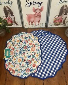 "Pioneer Woman Set Of 4 ""Mazie"" Floral Reversible Placemats Brand New!"