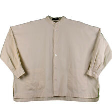 Eskandar Size 1 Oversized Boxy Button Down Shirt Pale Yellow Cotton Pockets