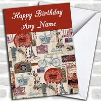 Vintage Paris Personalized Birthday Card