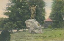 PORTLAND OR – Sacajawea Bronze Figure in City Park – Hand Colored Postcard