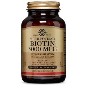 Solgar Biotin 5000 mcg 100 Vegetable Capsules FRESH Made In USA FREE US SHIPPING