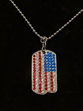 Silver Dog Tag Ball Chain Crystal American Flag Red White Blue Necklace
