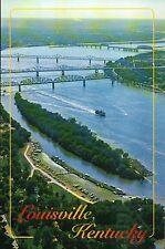 Aerial View of the Ohio River, Louisville Kentucky, Belle of, Bridge -- Postcard
