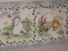 Sunworthy Self-Stick Wallpaper Border Classic Pooh Blue Garden Flowers 5 Yds