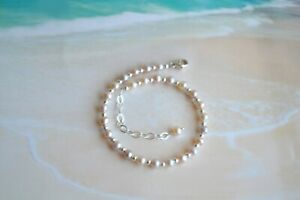 Freshwater Pearl & .925 Sterling Silver Bead Ankle Bracelet 8 to 10 Inches