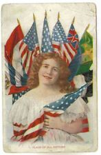 FLAGS OF ALL NATIONS,WITH PRETTY WOMAN, PATRIOTIC POSE 1907 PC
