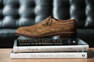 Handmade Men's Genuine Brown Suede Brogue Wingtip Lace Up Formal Shoes US290