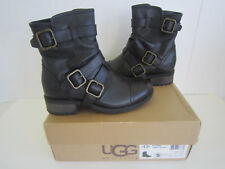 Women's UGG Finney Black Leather Ankle / Motorcycle Boots 5 M