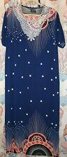 "SAKKAS ""Sabra"" Maxi Casual Cover-Up House Dress Blue Deco Short Sleeve Large"