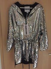 Moschino H&M H&MOSCHINO Kleid Pailletten Silber dress silver sequin Gr. Size XS