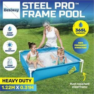 Bestway Mini Frame Square Pool Fun Toy Kids 2Y+ Garden Outdoor Blue 1.22m AU