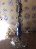Vintage Art Deco Blue Cut Glass Boudoir Vanity Lamp