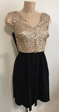 Beautiful Gold Sequin Skater Style Party Occasion Dress Size 10
