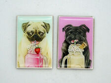 Set of 2 Pug Magnets - 100% to Rescue