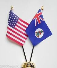 United States of America & Cayman Islands 1958 to 1999 Friendship Table Flag Set