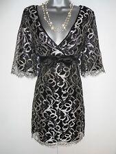 Karen Millen Plata Negro Encaje Seda Trim tarde ocasión Cambio Vestido Talla 12