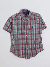 Boy Ralph Lauren Polo Red Green Plaid Dress Button Down S/S Shirt Size 4