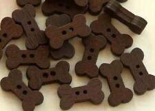 "Lot of 10 BROWN BONE 2-hole Wooden Buttons 5/8"" (15 x 8mm) Craft Scrapbook (555)"