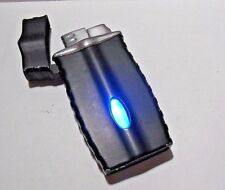 RETRO BLACK WITH BLUE LIGHT BAR STYLE REFILLABLE TORCH BUTANE LIGHTER - LIGHTS