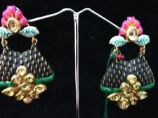 fashion jewelry color pink/black Traditional kundan earring for women