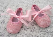 NEW Size 6-12 months Baby Shoes Baby Girls Pink Lace Baby Shoes