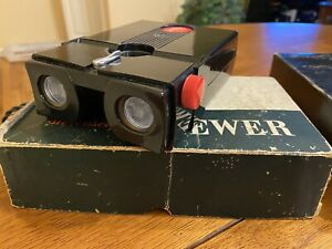 Stereo Realist 3D Viewer Red Button (Black) With Sawyer AC Transformer Mod - Box